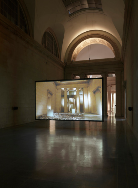 Simon Starling, Phantom Ride, 2013, HD video projection (loop), Duration 7 mins 20 sec, Installation view 'Phantom Ride', Duveen Galleries, Tate Britain, London, 2013