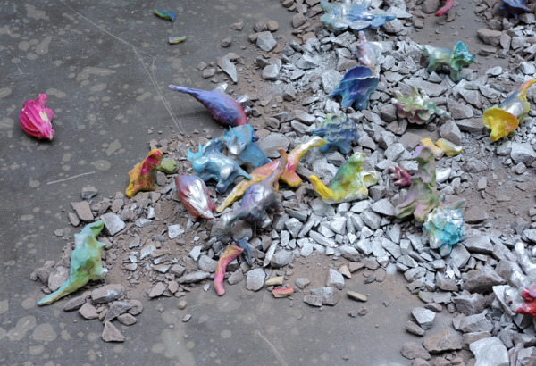 Gregor Wright, Somewhere Other Suns Are Setting, 2014, Clay, paint, rubble, styrofoam, expanding foam, mixed media, Dimensions variable, Installation view, 'Dinosaur Expert I'm Feeling Lucky', CCA, Glasgow, 2014