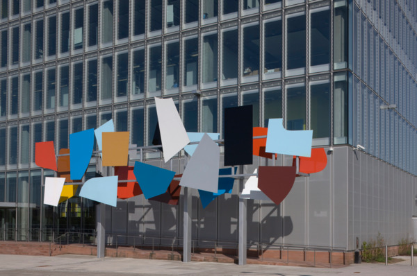 Toby Paterson, Poised Array, 2007, Steel, GRP, plywood, two-pack paint, Dimensions variable, Exterior view, BBC Scotland Headquarters, Glasgow (public commission), 2008