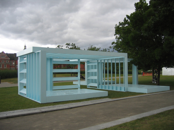 Toby Paterson, Powder Blue Orthogonal Pavilion, 2008, Kerto plywood, exterior paint and steel, 1200 x 1200 x 300 cm, Installation view 'Powder Blue Orthogonal Pavilion', Potters Fields Park, Southwark, London, 2008
