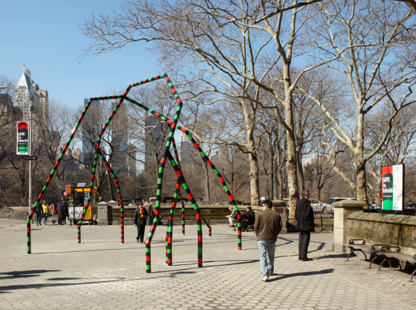 Eva Rothschild, Empire, 2011, Painted Steel, 571.50 x 998.22 x 769.62 cm, Edition of 3 + 1 AP, Installation view, Public Art Fund commission: Doris C. Freedman Plaza, Central Park, New York, 2011