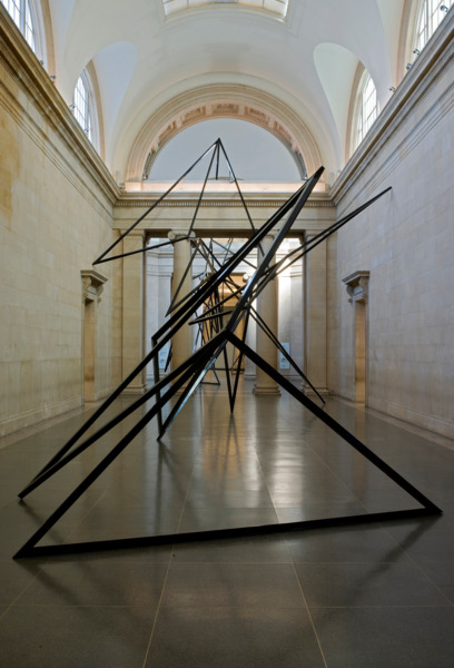 Eva Rothschild, Cold Corners, 2009, Aluminium box tubing, 1191 x 7377 x  996 cm, Installation view, Duveens Commission, Tate Britain, London, 2009