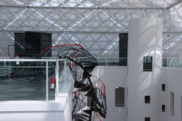 Monika Sosnowska, Stairway, 2010, Black steel, red handrail, Dimensions variable, Installation view 'Staircase', K21 Ständehaus, Atrium Project 1,  Kunstsammlung Nordrhein-Westfalen, 2010