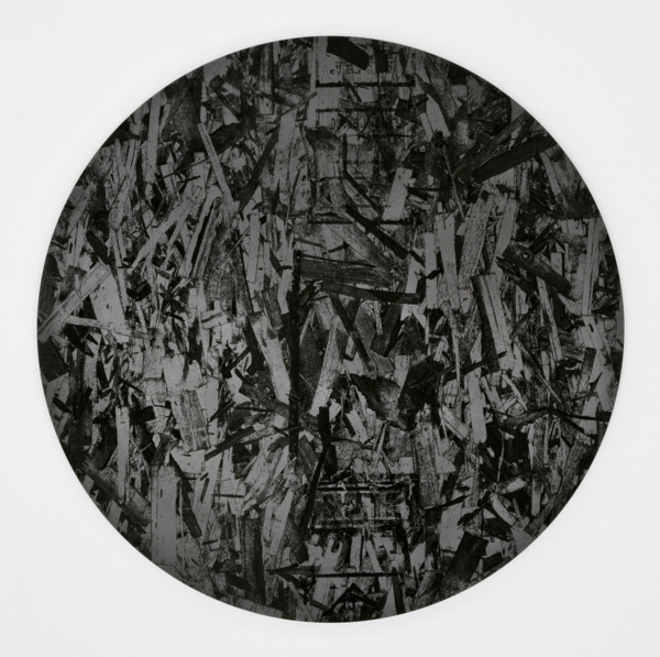 Untitled, 2012, Graphite mounted on aluminum panel, 71 cm diameter x 3.2 cm