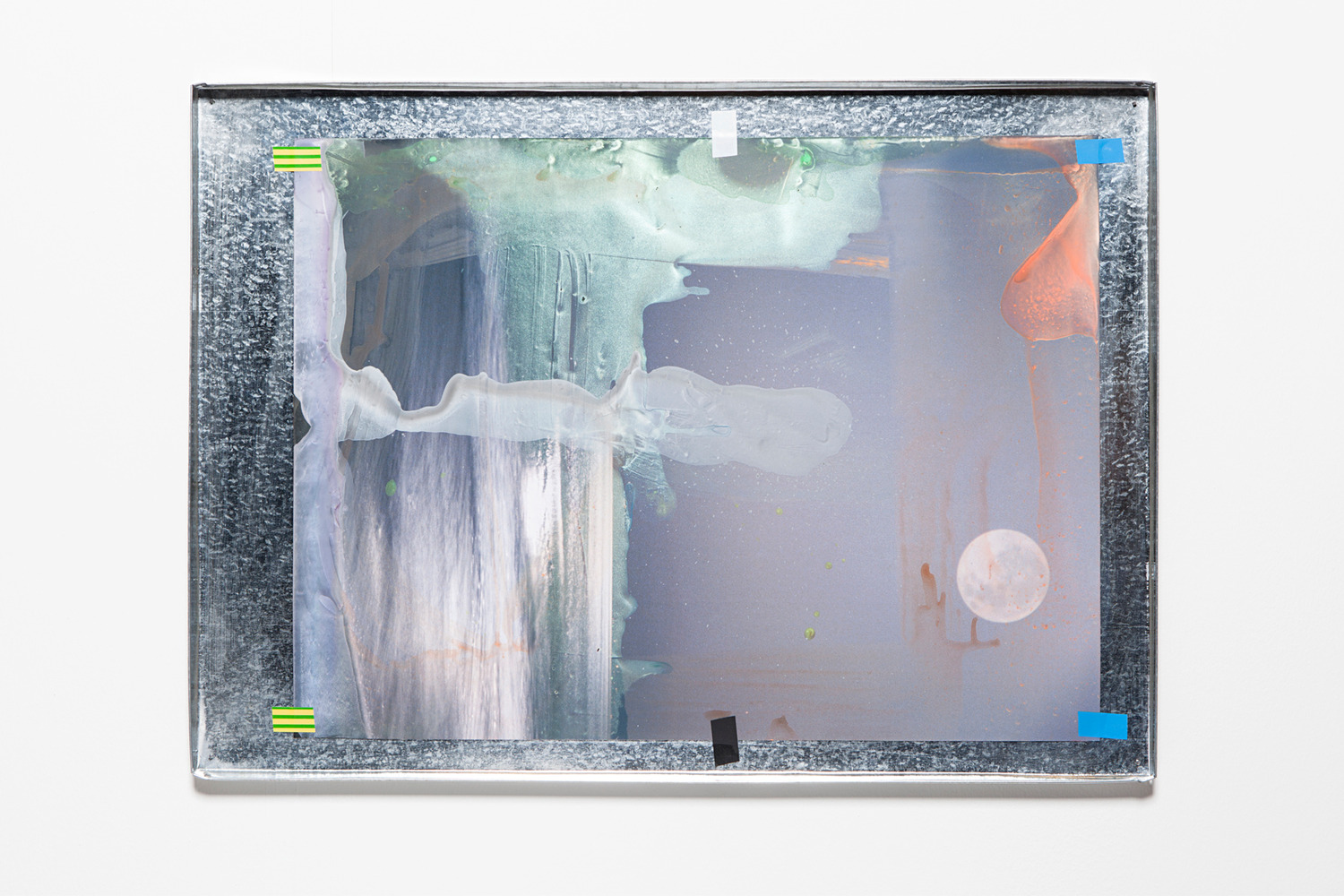Lookalike II, 2015, Acrylic paint on stock photograph, electrical tape, galvanised metal tray, 52.5 x 72.5 x 2 cm