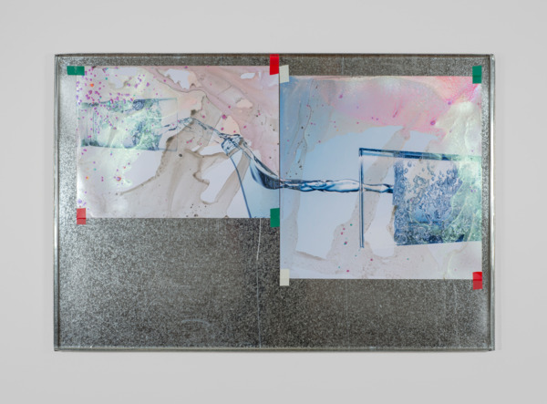 Lookalike V, 2015, Acrylic paint on stock photograph, electrical tape, galvanised metal tray, 59 x 87.5 x 2 cm