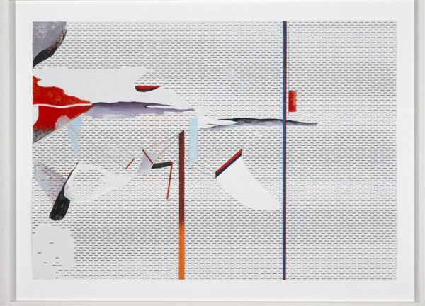 No Title, 2006, Oil, gold leaf, paint, offset print on paper, 87.7 x 117.7 cm