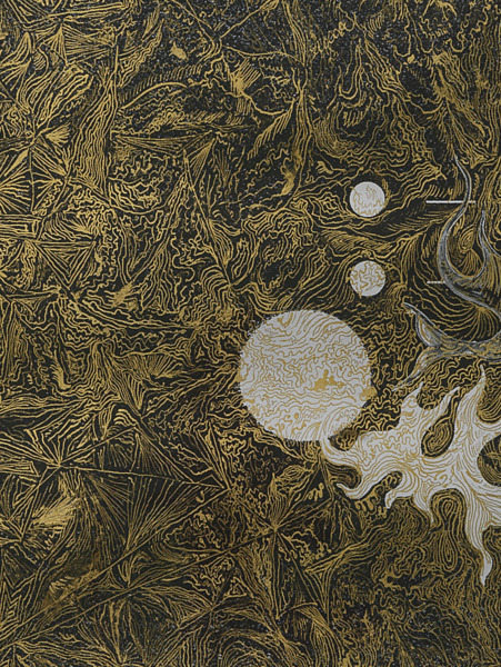 No Title 2009, Gold leaf on paper, 115 x 86 x 4 cm