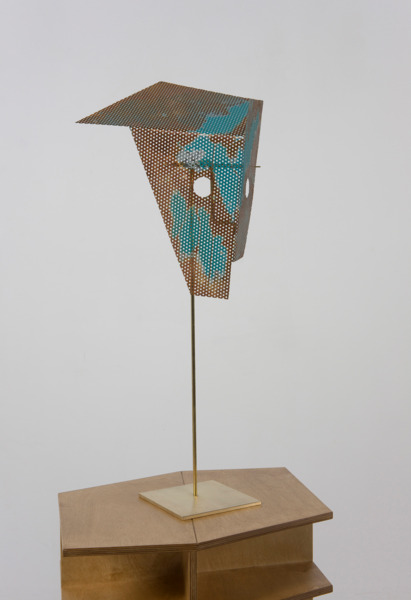 Hollow Heights, 2011, Plywood, brass and painted steel  , 159 x 50 x 40 cm