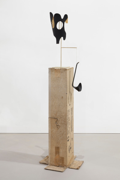 After the Dream, 2015, Altered Eames plywood leg splints, brass, cardboard, MDF, acrylic paint, 170 x 30.2 x 21 cm