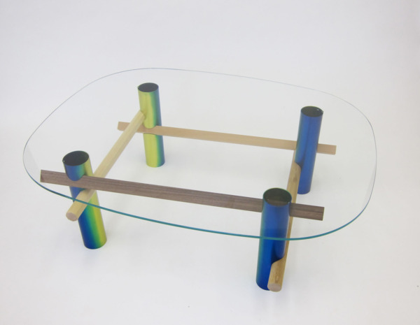 xyz Coffee Table (Rainbow), 2013, Anodised aluminium tube, beech, walnut, oak, ash, tempered glass, 46 x 108 x 138 cm