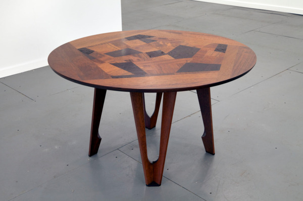 Fragmented Dining Table, 2014, Reclaimed iroko and teak with teak legs, 120 x 129 x 75 cm