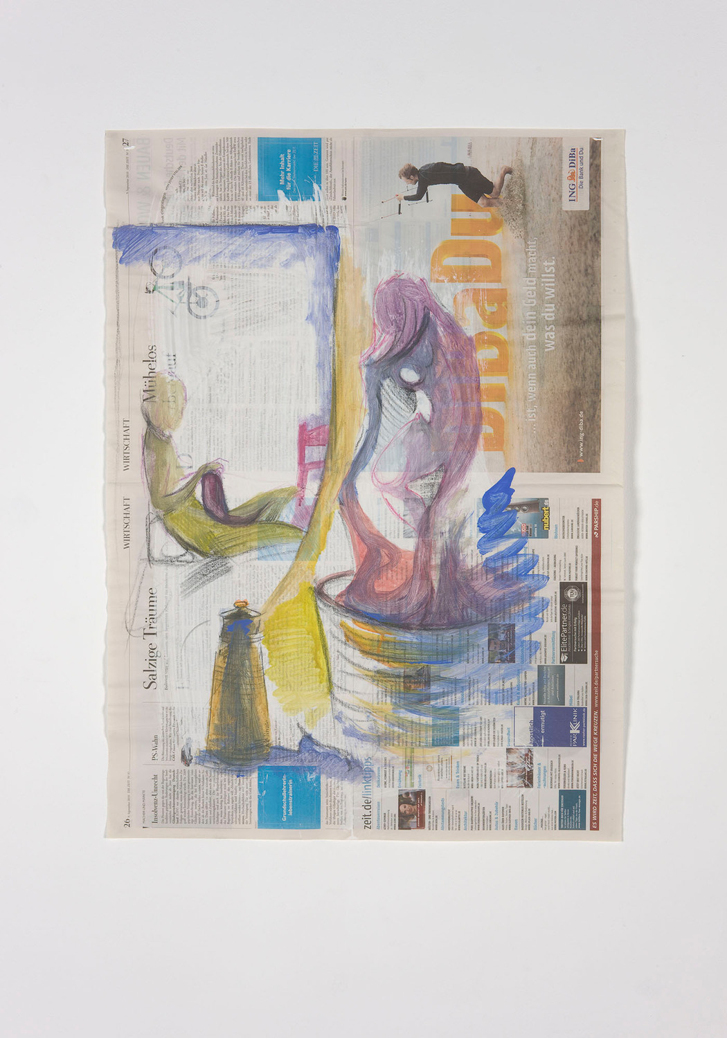 Untitled, 2011, Watercolour, pastel on newsprint, 79.5 x 56.7 cm