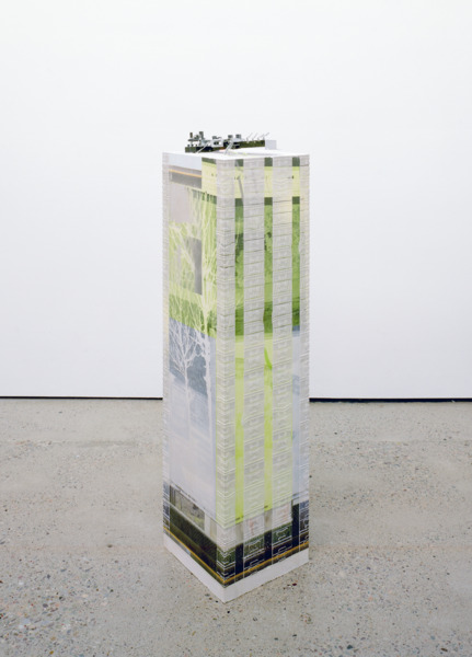 Congsumer (Paper-feed circuit board), 2014, Jesmonite, fiberglass, toner transfer, oil paint, 136 x 32.5 x 31 cm