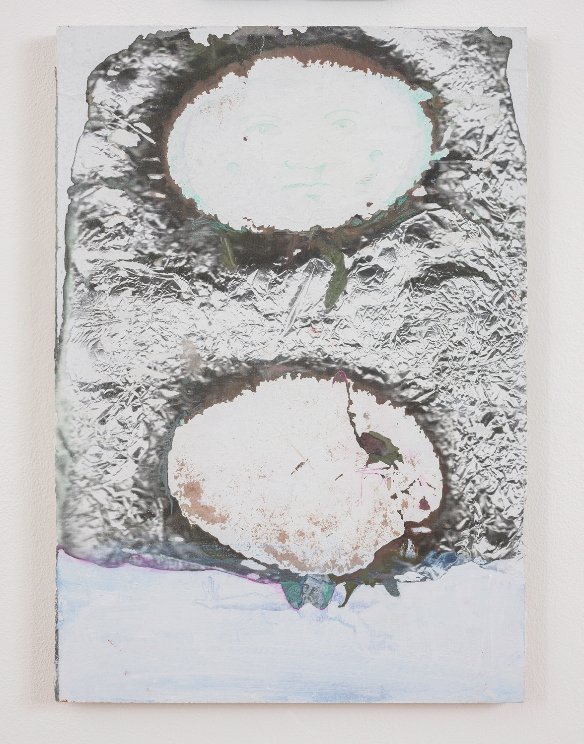 King Pitta, 2014, Toner transfer, watercolour pencil, acrylic and oil paint on chipboard, 41.2 x 29 x 1.9 cm