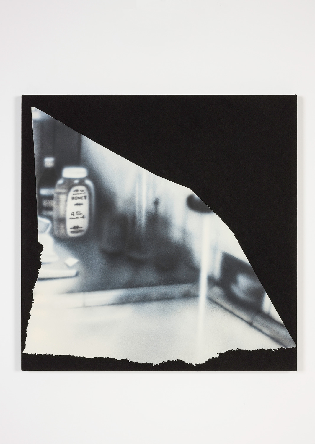 Magazine Painting (Dirty Kitchen), 2014, Oil on aluminum on dyed linen, 96.5 x 96.5 x 4.5 cm