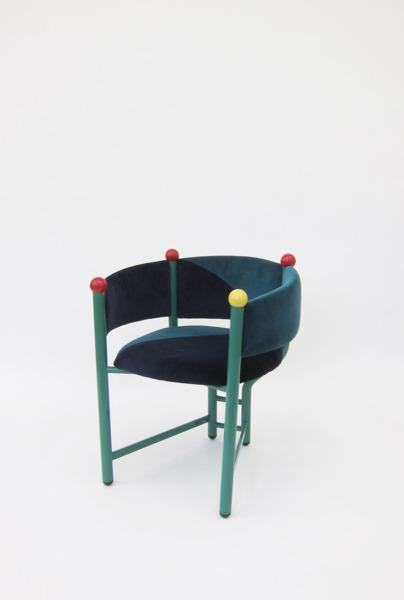 Pagliaccio Chair, 2013, Metal frame, upholstery, billiard balls, 73 x 63 x 64 cm