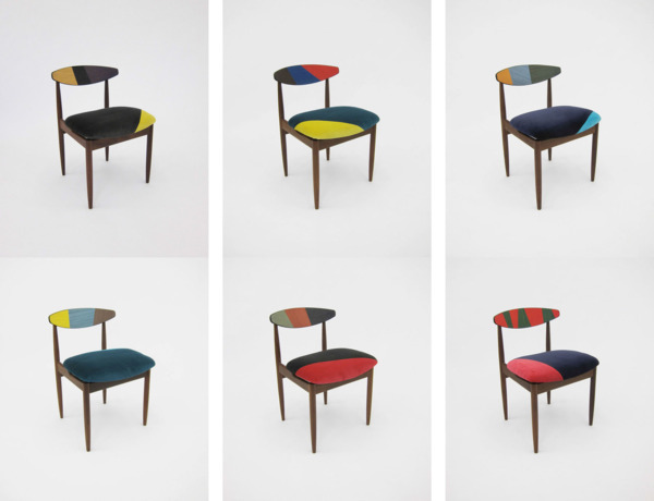 Friends #01 - #06, 2013, Carved appropriated teak chairs, velvet upholstery, veneer, Set of 6, 76 x 51 x 52 cm each