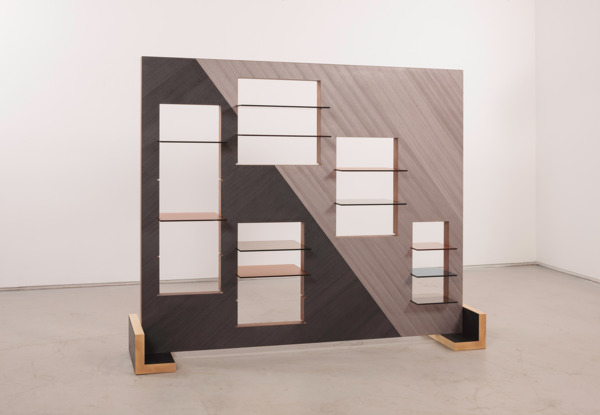 Windows Shelf, 2015, Block board, coloured veneer, tempered glass, 170 x 214 x 47 cm
