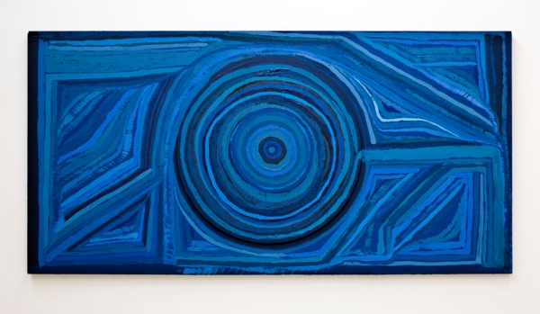 See You Tomorrow Or I'll Be Seeing You Later, 2013, Acrylic and household paint on found wood, 123 x 243.8 x 5.5 cm