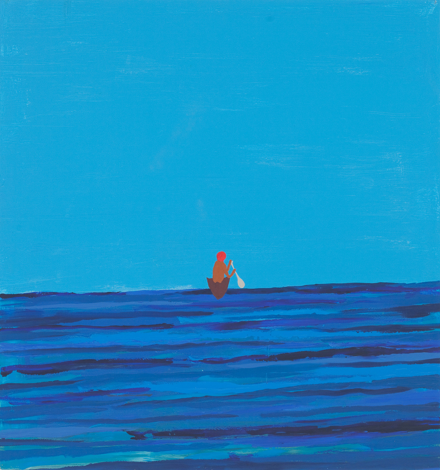 Untitled Painting of a Man Leaving in Boat, 2010, Acrylic on wood, 102.9 x 95.3 cm