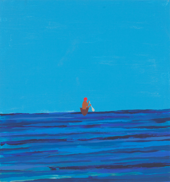 Untitled Painting of a Man Leaving in Boat