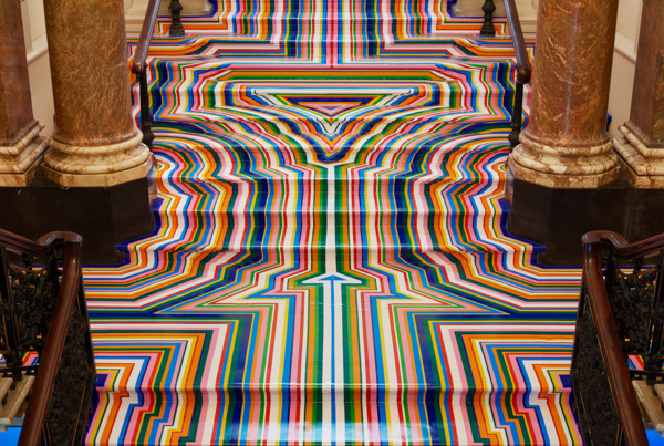 Zobop Stairs (Colour), 2003/2015, Colour vinyl tape, Dimensions variable, Installation view, Royal Academy of Arts, London, 2015
