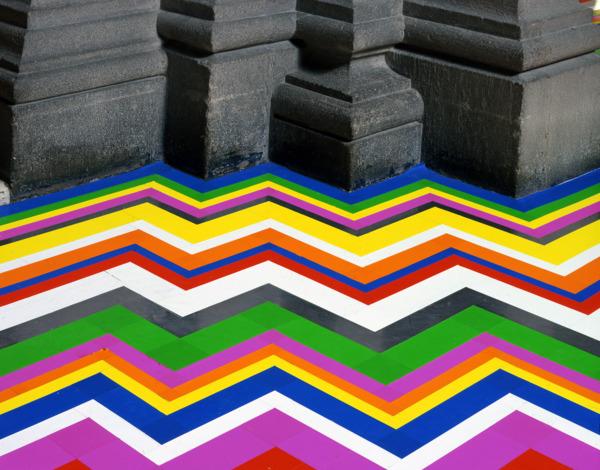 Zobop (Fluorescent), 2006, Vinyl tape, Dimensions variable, Installation view, La Colección Jumex, México, Museo Nacional de Arte, 2008