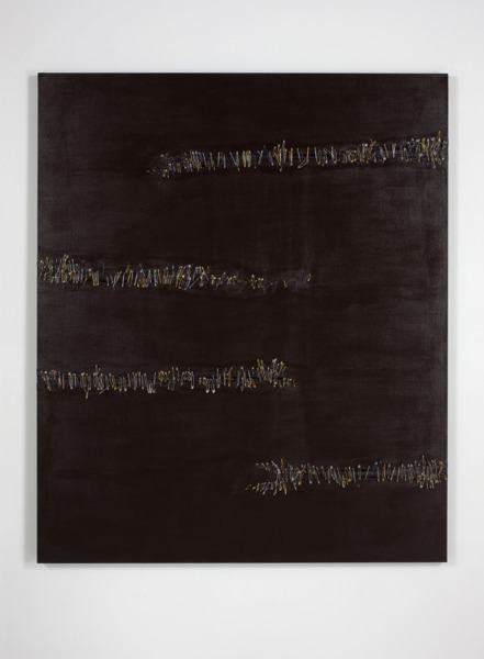 Pin number 0597, 2012, Acrylic on canvas, safety pins, 190 x 160 x 5.5 cm