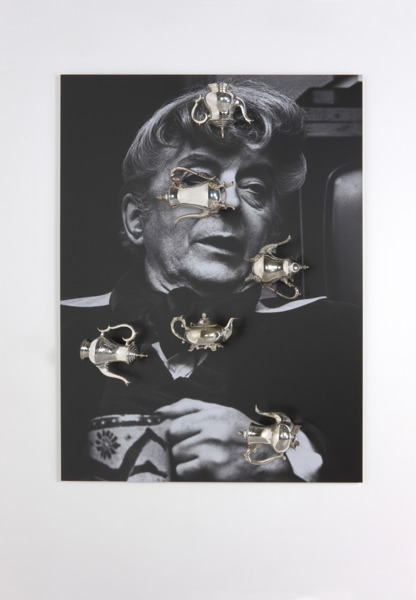 Beautiful Future, 2012, Photo collage with metal teapots, 151 x 110 x 30