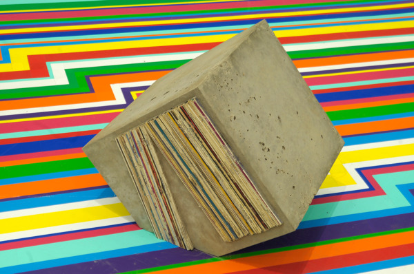 Sonic Reducer 27, 2008, Concrete block, album covers, 27.5 x 35.5 x 35.5 cm