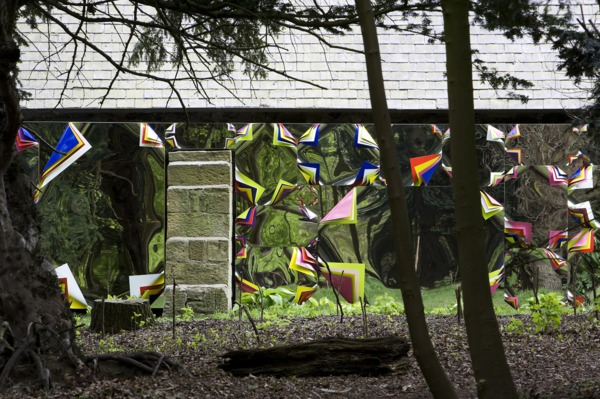A Forest, 2010, Polished steel sheets, gloss paint and fluorescent paint, Dimensions variable