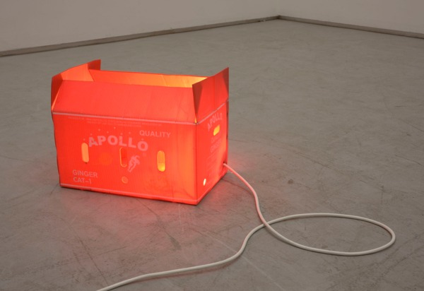NO, 2012 (with Emanuel Rossetti), Plastic fruit box, light fitting, 25 x 45 x 28 cm
