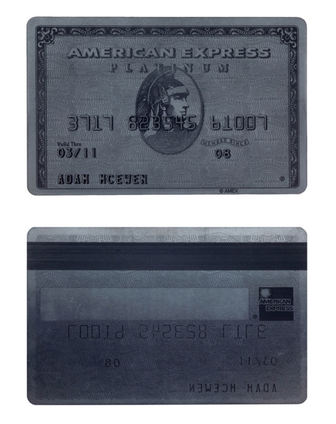 Self-portrait as a credit card, 2009, Graphite, 8.5 x 5.4 x 0.1 cm