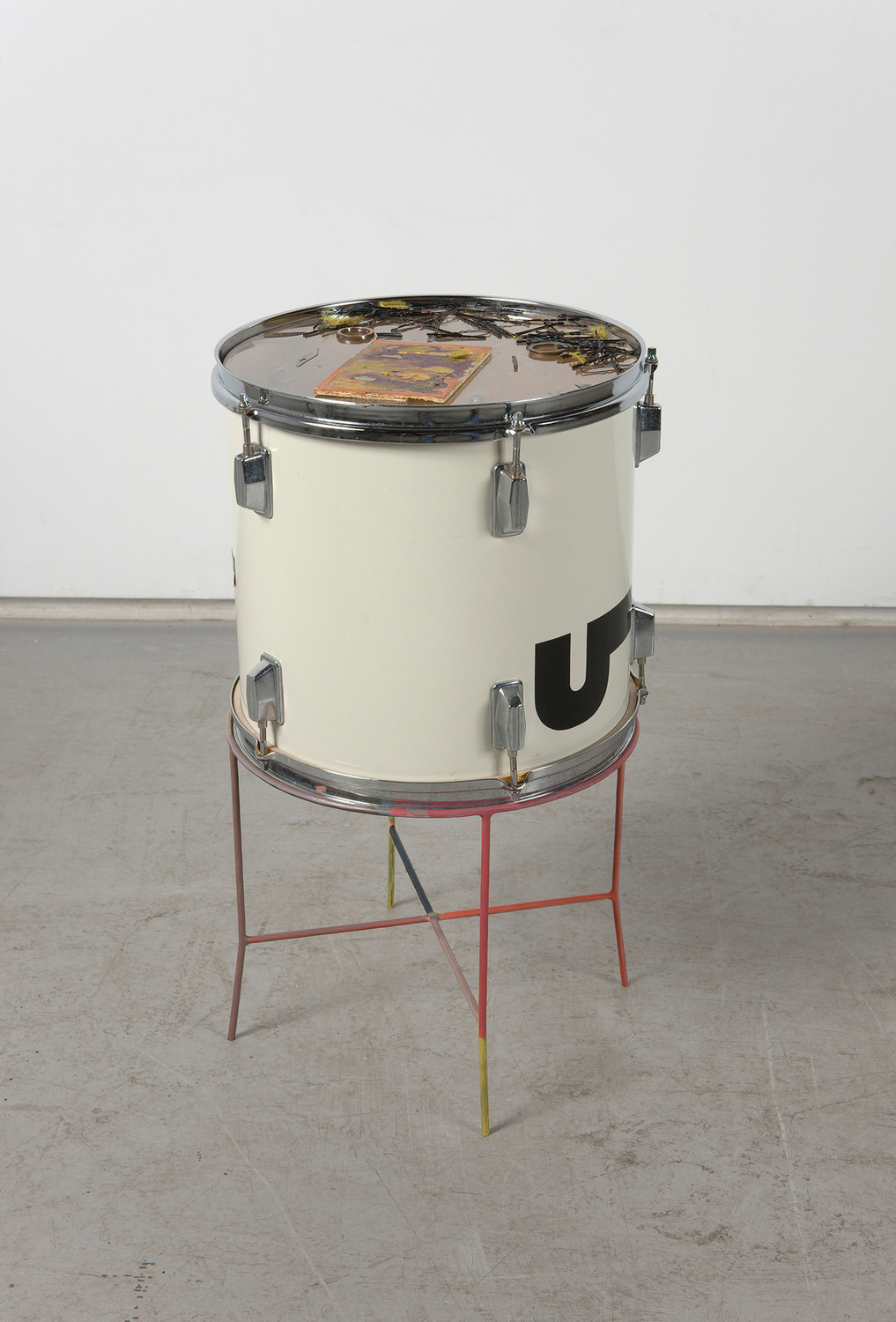 Upsetter Makes You Better, 2011, Mixed media, Drum 32.5 cm diameter x 36 cm height; Stand 30.5 cm diameter x 30.5 cm height