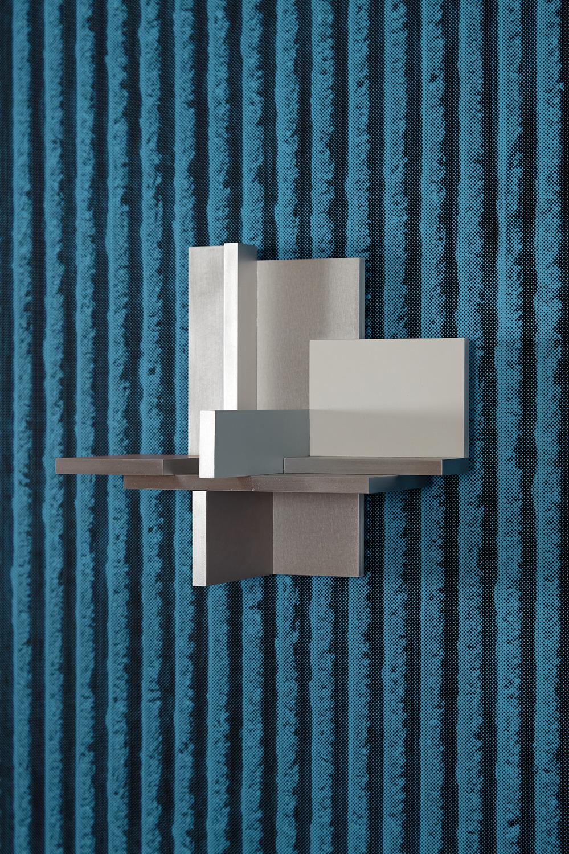 Salt Corrosion, 2014, Acrylic on aluminium relief, MDF with vinyl matt paint and digital print on paper, 112 x 194 x 5 cm