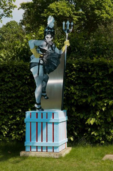 Fculpture 4, 2012 (with Alan Kane), Printed vinyl, aluminium, painted wood, steel, 237 x 62 x 63 cm