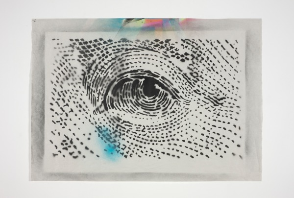Black Eye, 2013, Spray paint on newsprint, 64 x 89 cm