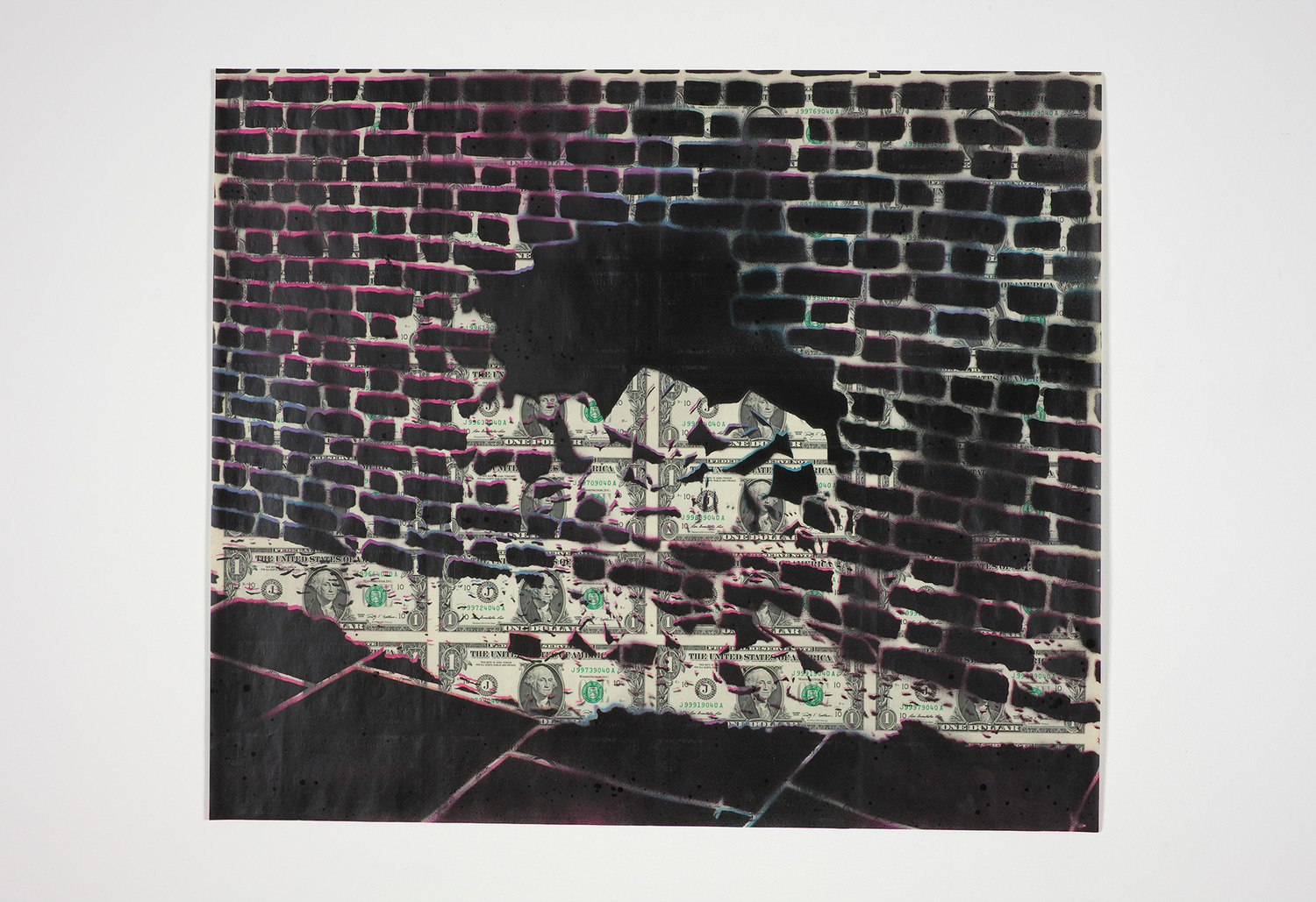 Dollar Hole, 2013, Spray paint on uncut dollar bills, 54 x 63 cm