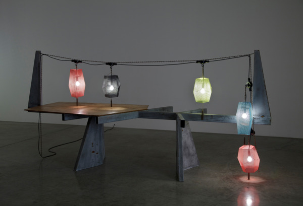 Against the Night, 2013, Perforated steel, steel chain, plywood, wood stain, wood oil, galvanized steel, wired electrical lights, 320 x 170 x 170 cm