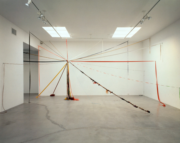 Come Together, 1989, Ribbon, rope, human hair, measuring tapes, TV antennae, wire, and lace, Dimensions variable