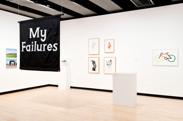My Failures: Banner, The Spoils of War, Rejected Tube Map Cover, Iggy Pop Life Drawing Class, Proposal for the Olympic Park, Mission Accomplished, Dr David Kelly Fourth Plinth, 2012, Mixed media, Dimensions variable, Installation view, 'Joy In People', Hayward Gallery, London, 2012