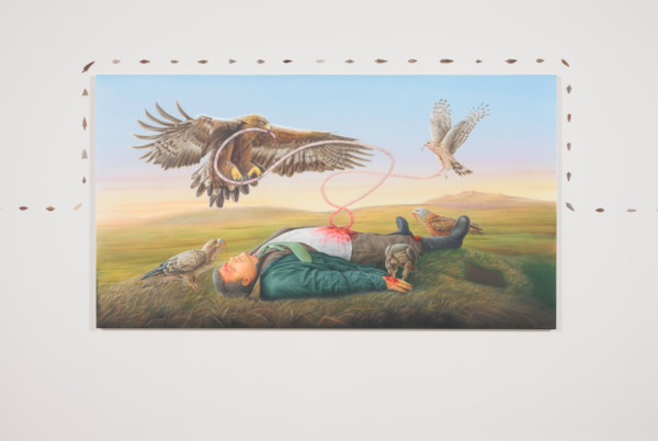 Jeremy Deller, Monarchs of the Glen, 2014, Acrylic and oil on canvas, painted by Stuart Hughes, 95 x 170 cm x 3 cm, Installation view, The Modern Institute, Glasgow, 2014
