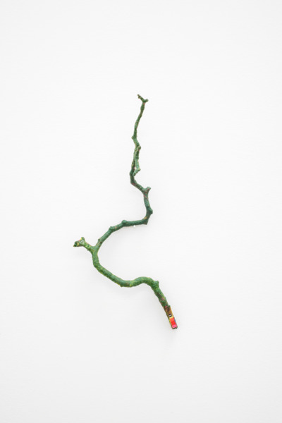 Stick XIII, 2015, Acrylic, photograph on found object, 30 x 13 x 8 cm