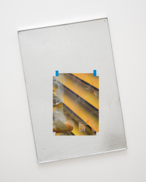 Lookalike XIV, 2015, Galvanised metal tray, stock photograph, acrylic paint, electrical tape, 87 x 59.3 x 2 cm