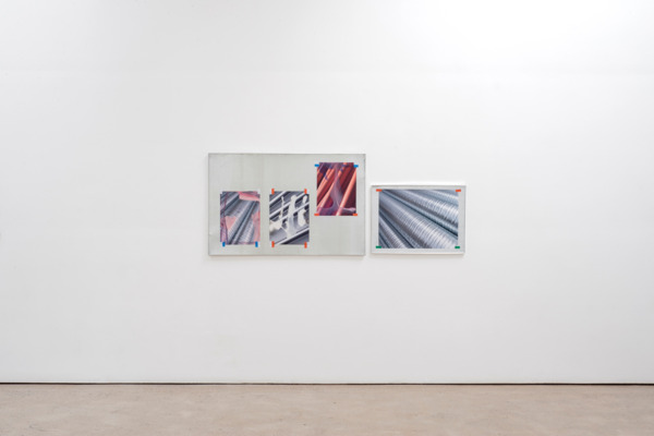 Lookalike XVII, 2015 (left), Galvanised metal tray, stock photograph, acrylic paint, electrical tape, 77 x 119 x 2 cm, and, Lookalike XIII, 2015 (right), Galvanised metal tray, stock photograph, acrylic paint, electrical tape, 52 x 72 x 2 cm
