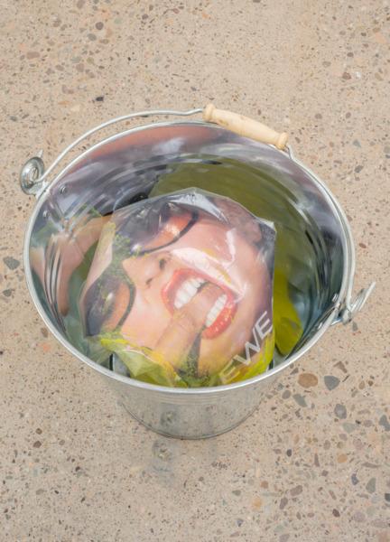 Picture Pail III, 2015, Metal pail, plastic bag, gouache, magazine page, 33 x 35 x 31 cm