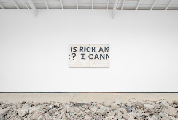 Graffiti Fragment (You've got Everything Now) 2015, Plaster, plywood, aluminium, 94.5 x 164 x 3.7 cm, Installation view 'SORRY HAD TO DONE', The Modern Institute, Osborne Street, Glasgow, 2015