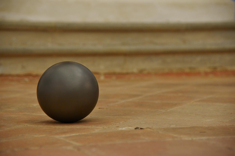 Untitled, 2015, Graphite sphere, 17.8 cm diameter