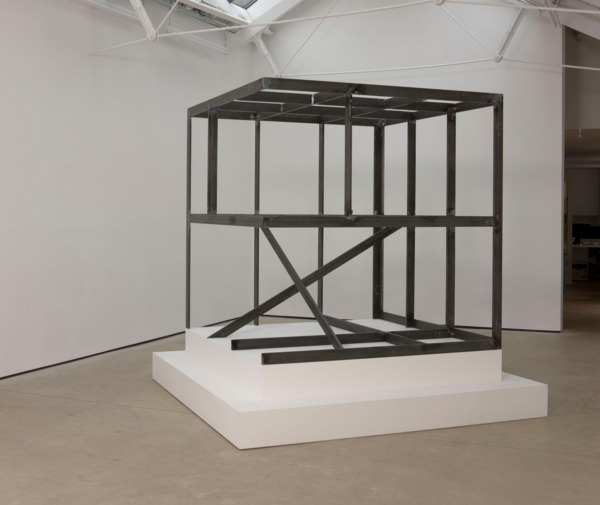 Dirk Bell, 2 Free Cell, 2011, Steel, found object, 200 x 200 x 200 cm, plinth 250 x 250 x 50 cm